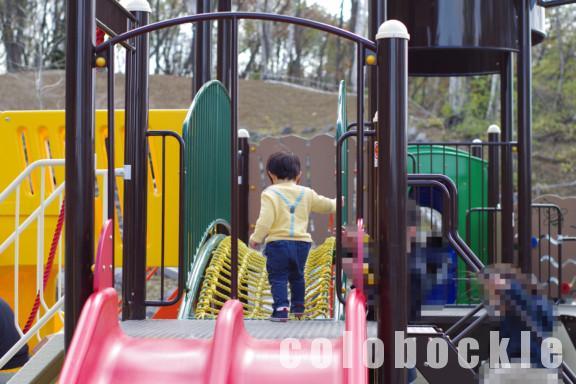 札幌月寒公園滑り台遊具駐車場子供森の遊び場